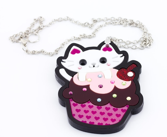 ON SALE Kitty Loves Cupcakes Layered Laser Cut Acrylic Pendant with Swarovski Crystals kawaii japanese anime inspired