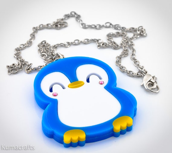 LOW STOCK Kawaii Happy Penguin Laser Cut Layered Acrylic Pendant  New Style With Closed Eyes