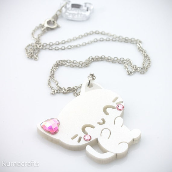 Pearlescent White Kitty Cat Pendant/Necklace Laser Cut Acrylic with Swarovski Crystals