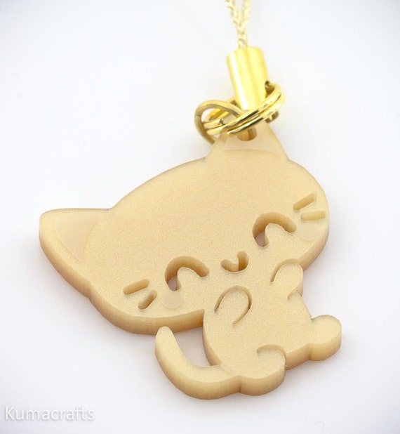 Adorable Little Pearlescent Gold Kitty Cat Cell Phone Charm / Zipper Pull