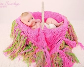 Pink and Green Shabby Chic Photo Prop Infant Sling Blanket Three in One