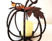 Vintage Pumpkin Candle Holder - metal art