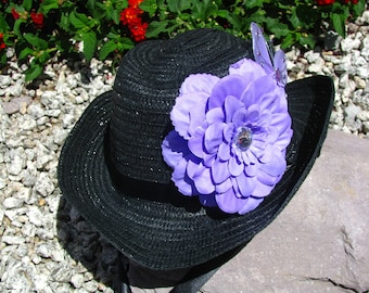 Cowgirl Hat -  Black and Lavender - Girls Cowboy Hat - Girls Western Theme Party Hat - Style CB25