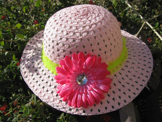 Tea Party Hat - Girls Sun Hat - Easter Bonnet - Hot Pink and Lime Green - Pink Butterfly - Style Z5