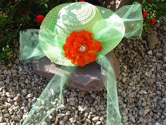 Tea Party Hat - Girls Sun Hat - Easter Hat - Green and  Orange - Style P10