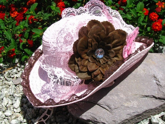 Cowgirl Hat -  Pink and Brown - Girls Cowboy Hat - Girls Western Theme Party Hat - CB18