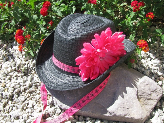 Cowgirl Hat -  Black and Hot Pink - Girls Cowboy Hat - Girls Western Theme Birthday Party Hat  - Style CB15