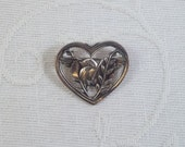 CLEARANCE SALE- Coro Pegasus Sterling Silver Bird in a Heart Brooch