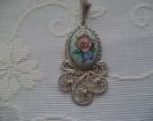 Vintage Russian Hand Painted Enamel Finift Necklace