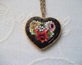 Micro Mosaic Heart Pendant Necklace