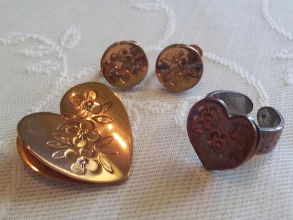 Clearance Sale-Gret Barkin 1940's Copper Ring, Brooch and Earrings