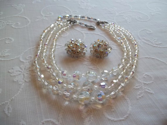 1950's Aurora Borealis Triple Strand Necklace and Cluster Earring Set