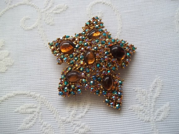 Clearance Sale-Vintage Starfish Brooch Signed Art