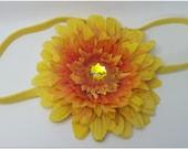 SALE- 30 percent off. Originally 6.99-FALL Yellow and Orange 4 inch Gerbera Daisy soft headband with GEM in center