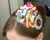 UNIQUE Multi Colored Fabric Flower Headband with button and lace in Center