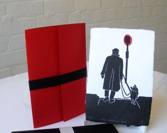 Man Walking Dog in Paris with Red Lamp Print