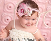 Pink Vintage-Style Fabric Flowers Headband - Npictures Boutique