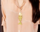 Unique 1970s Vintage Large Gold and Green FISH Pendant Necklace