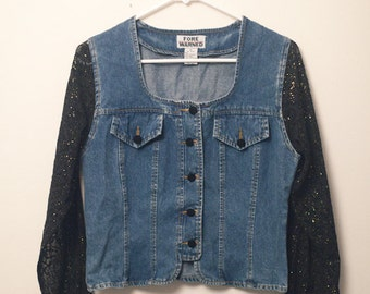 SALE ///////// Small Jean Jacket with Black and Gold Glittery Sleeves