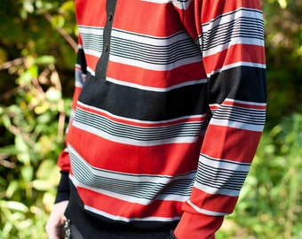 Black Red Grey Stripe Long Sleeve Mens Polo M