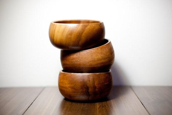 1960s Vintage Wooden Snack Bowls