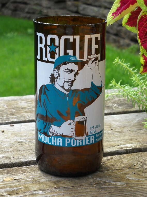 Tumbler / Pint Glass - Rogue Brewery Mocha Porter -  Upcycled Bottle - Chocolate Lovers