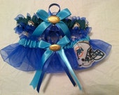 NFL Miami Dolphins royal blue organza Wedding Garter set any size