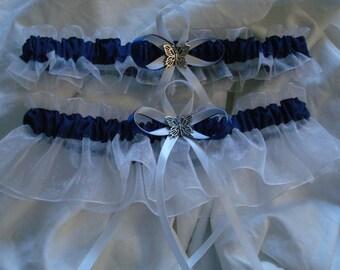 Indigo Blue Organza Wedding Garter set any size