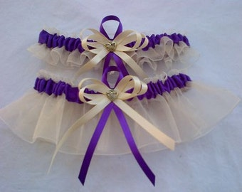 Ivory and purple wedding garter set any size, color or style.