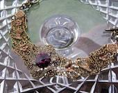 PURPLE FILIGREE BRACELET Swarovski Crystal Amethyst Butterfly Bracelet