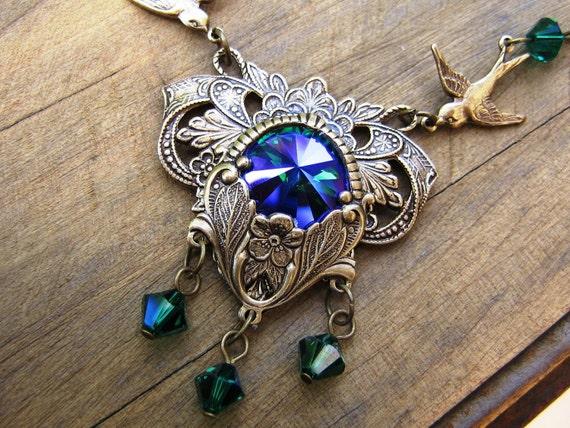SALE Emerald Glacier Blue Swarovski Necklace Set