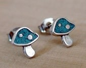 TURQUOISE MUSHROOM EARRINGS - Sterling Silver Post Earrings