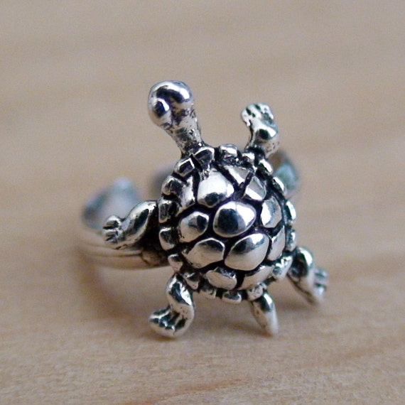 items similar to turtle ear cuff sterling silver cuff. Black Bedroom Furniture Sets. Home Design Ideas
