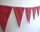 fabric bunting red and white check pennant flag red double sided wall hanging decor