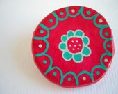 Red flower brooch paper mache jewelry - eco friendly recycled brooch