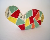 Geometric heart brooch, paper mache brooch, eco friendly jewelry, red, yellow, green - geometric jewelry