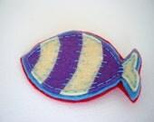 Fat fish felt animal brooch