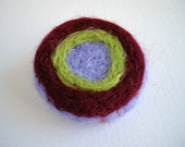 Circles brooch in burgundy, green and lilac - geometric minimal jewelry - soft needle felt brooch