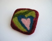 Heart brooch, green and burgundy, needle felted brooch, textile brooch, geometric jewelry