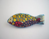 Small Fish brooch Paper mache recycled hand painted fish scales blue, yellow