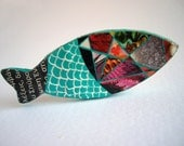 Turquoise Fish brooch - Paper mache eco friendly jewelry fish scale pattern
