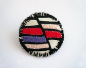 Embroidered brooch, color block jewelry, red, purple, pink stripes, textile brooch, geometric jewelry