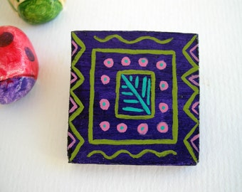 Art brooch, wooden brooch, wood jewelry, eco friendly jewelry, geometric pattern, turquoise, purple, pink, hand painted jewelry, on sale