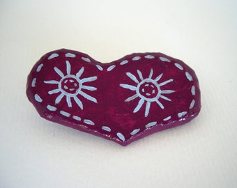 Heart brooch, plum paper mache eco friendly jewellery, unique jewelry