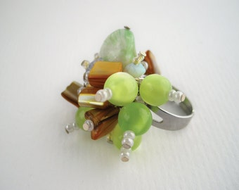 Chunky bead ring, lime green and brown beads, statement adjustable ring
