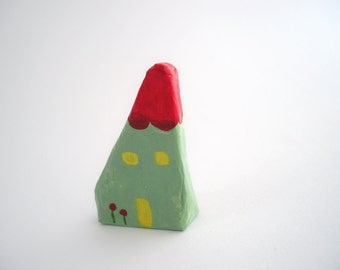 House brooch from papier mache, handpainted pastel green minimal jewelry