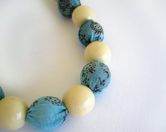 Blue fabric necklace, cream white wooden beads, textile jewelry, statement necklace, fabric jewelry, wood bead necklace, textile jewellery