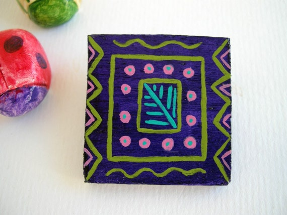 Art brooch, wooden brooch, wood jewelry, eco friendly jewelry, geometric pattern, turquoise, purple, pink, hand painted jewelry, on sale