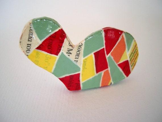 Geometric heart brooch, paper mache brooch, eco friendly jewelry, red, yellow, green - geometric jewelry