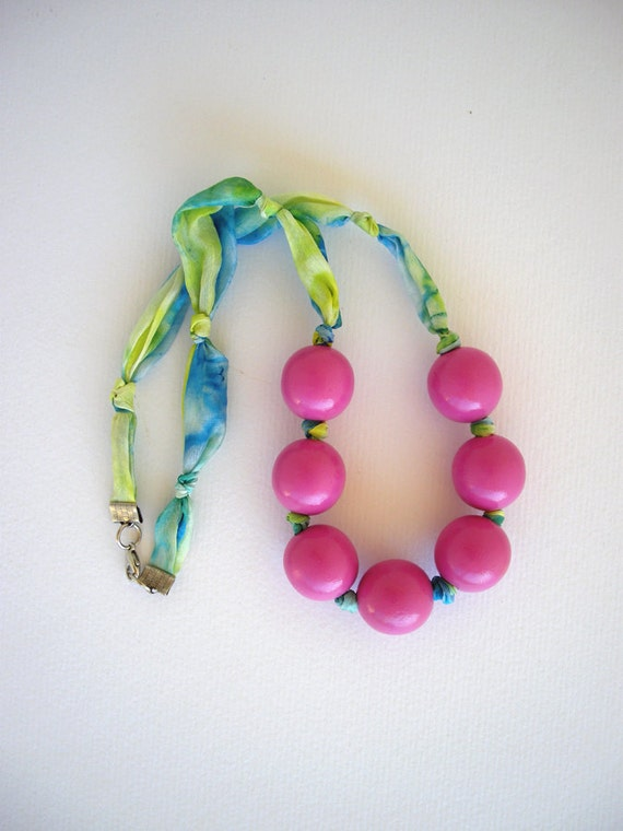 Silk fabric necklace, wooden bead necklace, textile jewelry, knotted necklace, statement necklace, textile necklace pink and blue, on sale